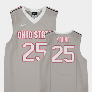 OSU Buckeyes #25 Youth(Kids) Kyle Young Jersey Gray Official College Basketball Replica 880043-732