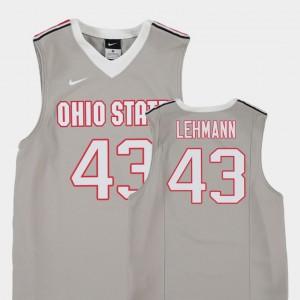 OSU #43 For Kids Matt Lehmann Jersey Gray Embroidery College Basketball Replica 492354-632