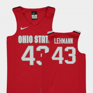 Ohio State #43 Youth Matt Lehmann Jersey Red Official College Basketball Replica 956192-282