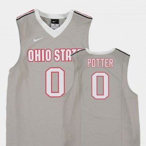 Ohio State Buckeyes #0 Youth(Kids) Micah Potter Jersey Gray Player Replica College Basketball 296622-470