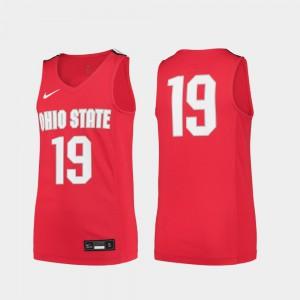 OSU Buckeyes #19 Youth(Kids) Jersey Scarlet NCAA College Basketball Replica 852876-555
